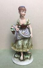 Vintage Porcelain Farmer Lady Figurine with Basket of Flowers - Japan 8260