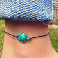 Beach Turtle Charm Rope String Anklets For Women Ankle Bracelet Leg Foot Jewelry