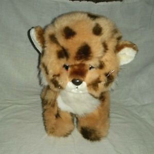 Vintage Gund Cheetah Leopard Jaguar Cub Brown 10in Sitting Soft Furry Plush 1982