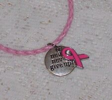 Breast Cancer Awareness Never Give Up Necklace on Pink Leather
