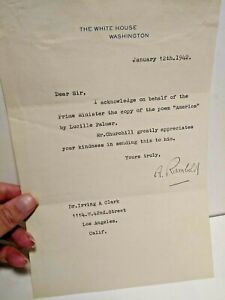 Signed Letter White House January 12th 1942 Poem Lucille Palmer to Churchill M 5