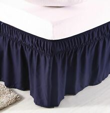 Wrap Around Three Sides Elastic Plain Ruffle Bed Skirt Cotton 800 TC Navy Blue