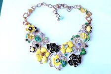 1990s Gorgeous Enamel Flowers & Crystal Statement Vintage Retro Style Necklace