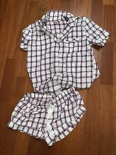 Victorias Secret White Pink Plaid Two Piece Pj Set M
