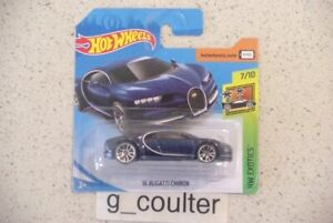 2019 HOT WHEELS HW EXOTICS '16 BUGATTI CHIRON 7/10  236/250 SHORT CARD BLUE