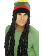 Long Black Jamaican Rasta Wig With Multi Colour Hat Mens Fancy Dress Accessory