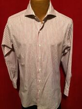 PROPER CLOTH Red & White Striped LS 100% Cotton Button Front Shirt Size M