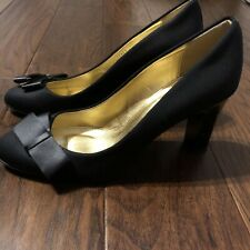 J. CREW BLACK MOLLY FLANNEL HEELS SATIN BOW PUMPS Size 9 Made In Italy