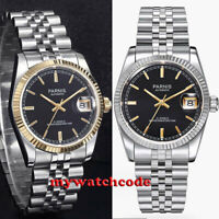 36mm PARNIS black dial 21 jewels miyota luminous Datejust automatic mens watch