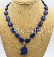 "13x18mm Natural Lapis Lazuli Gemstone Beads Necklace Pendant 18"""