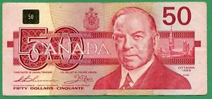 *** FHM *** Harder to find *** 1988 Canada 50 dollar Fifty dollars Thiessen Crow