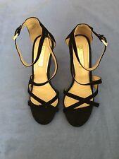 miss selfridge Women High Heel Black Suede Sandals Size 4 (47C).