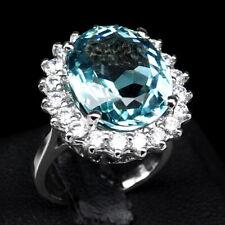 AQUA BLUE AQUAMARINE RING SZ 7.25 OVAL 11 CT. SAPPHIRE 925 STERLING SILVER WOMAN