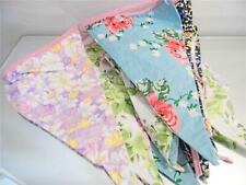 GORGEOUS PRETTY FLORAL FABRIC VINTAGE STYLE LARGE BUNTING FLAGS APPROX  18X29CM