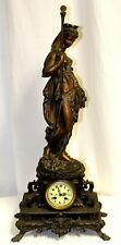 Antique Bronze Mantel Clock w/ Figural Element of the Goddess Demeter, c. 1855