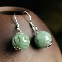Pure S925 Sterling Silver Natural A Grade Jade /Jadeite Bead Dangle Earrings