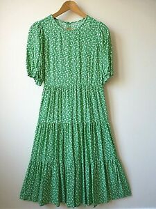 New Womens Green + White Ditsy Floral Print Tiered Viscose Midi Dress Size 8-16
