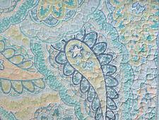 TAHARI Paisley 2Pc TWIN Quilt SET Aqua Teal Blue Green Yellow FLORAL TROPICAL