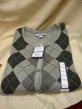 New Ladies Croft & Barrow Cardigan Sweater Gray Plaid Size Medium Long Sleeve