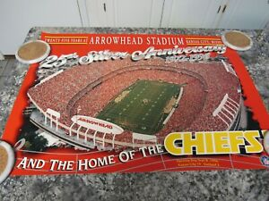 "24"" X 17"" 25th Arrowhead Silver Anniversary Kansas City Chiefs NFL Memorabilia"