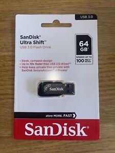 Sandisk Ultra Shift 64GB USB 3.0 Flash Drive Stick 100MB/s