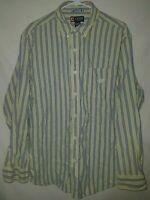 Chaps Mens Yellow Blue Striped Cotton Button Front Shirt Size XL Button Down