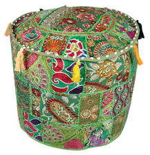 Handmade Patchwork Pouf Cover Moroccan Footstool Vintage Patchwork Seat Ottoman