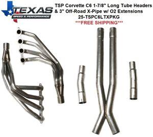 "Texas Speed Corvette C6 1-7/8"" Stainless Steel Long Tube Headers & O/R X-Pipe"