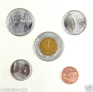 Ghana coins set of 5 pieces 2007 almost uncirculated