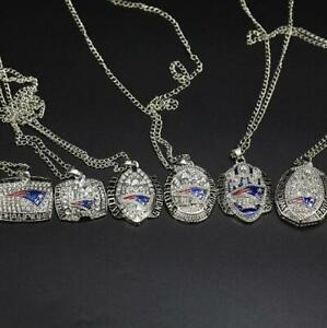 6pcs New England Patriots American Football Team Ring Pendant Necklace Fan gift