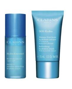 New Clarins SOS Hydra Refreshing Hydration Mask 15ml + Bi Phase Serum 15ml Set