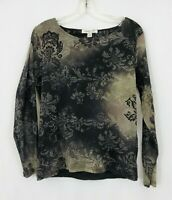 COLDWATER CREEK Women's Black And Brown Long Sleeve Size M Shirt Top