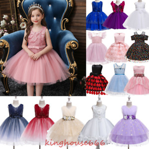 Little Girls Tutu Lace Party Gown Birthday Pageant Wedding Bridesmaid Dresses