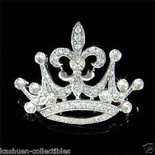 ~2 in 1 Crown Fleur De Lis made with Swarovski Crystal Paris France Charm Brooch