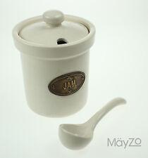 Beige Pottery Lidded Jam Jar & Spoon Ceramic Pot Labelled Vintage Kitchen Table