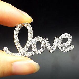 10pc Silver Alloy Crystal LOVE Brooh Flat Back No Pin DIY Wedding Bouquet 4.5cm