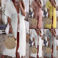 Women Boho Lace Sheer Bikini Cover Up Beach Summer Long Kaftan Kimono Maxi Dress