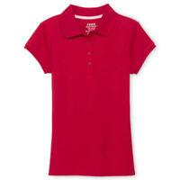 Izod Girls School Short Sleeve Shirt 4/5 7/8 10/12 14/16 Red Wt Blu Plain Collar