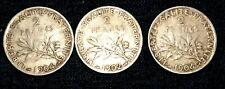 France, Semeuse, 2 Francs,x3pcs, 1902, 1904 Paris, VF(20-25), Silver, CV-$60+