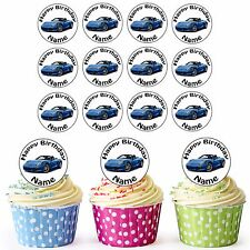 24 Personalised Pre-Cut Blue Porsche Edible Cupcake Toppers Birthday Boys Mens