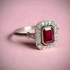 Vintage Art Deco Engagement Wedding Ring 3 Ct Pink Emerald Diamond 14K Gold Over