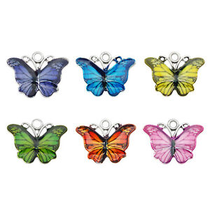 12PCS Mixed Colors Alloy 18x15mm Butterfly Charms Pendant Jewelry DIY Findings