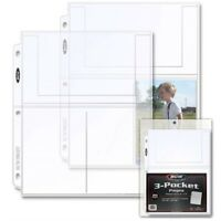 3 4x6 Pockets Clear Poly Pages For Photos Or Postcards Coupons 20 Pack BCW New
