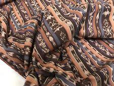 Vintage Hand-Woven Brown, Beige, Purple IKAT Fabric, 4 Yards (RF619)