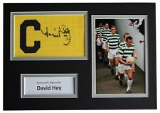 More details for david hay signed captains armband a4 photo display celtic football aftal coa