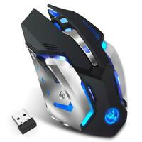 HXSJ M10 2.4GHz Wireless Gaming Mouse Rechargeable Backlight Mice Black UK
