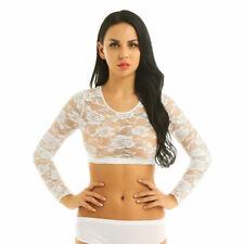 Women's Lace Floral Long Sleeves Crop Tops Tank Top Vest Blouse Tank Top Shirt