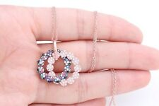 Turkish Jewelry Double Ring Multistone Topaz 925 Sterling Silver Chain Necklace