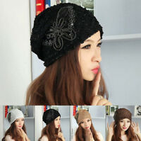 Warm Winter Women Lace Sequin Butterfly Crochet Knitted Beanie Hat Baggy Cap
