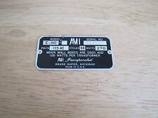 Ami Model E-80 Jukebox Model Number Plate